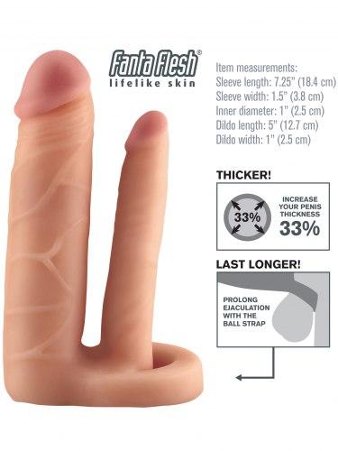 Návlek na penis s análním dildem, prodlouží o 2,5 cm