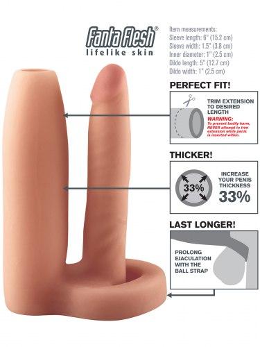 Návlek na penis s análním dildem, zvětší průměr o 33%