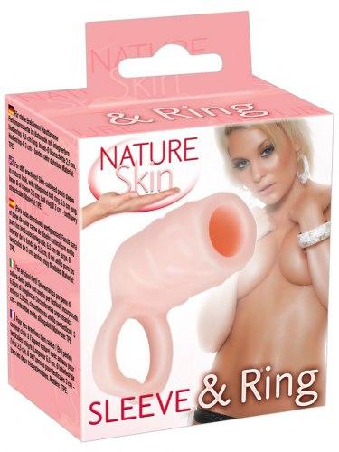 Návlek na penis Nature Skin s poutkem na varlata