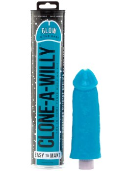 Odlitek penisu Clone-A-Willy Glow-in-the-Dark Blue - vibrátor – Odlitky penisu a vaginy