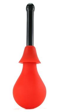 Klasický nástroj pro domácí provádění anální spršky má tvar gumového balónku s trubičkovým nástavcem