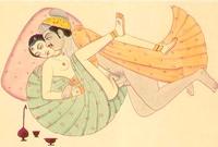 Sexuální poloha indrani vyobrazená na ilustraci z Kámasútry.