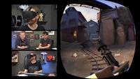 Ukázka použití headsetu Oculus Rift během hraní počítačové střílečky