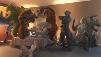 Furry art pro dospělé: antropomorfní swingers party