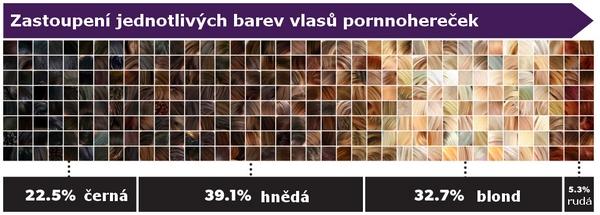 Infografika: zastoupení jednotlivých barev vlasů u amerických pornohereček