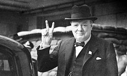 Největší propagátor véčka, samotný Winston Churchill