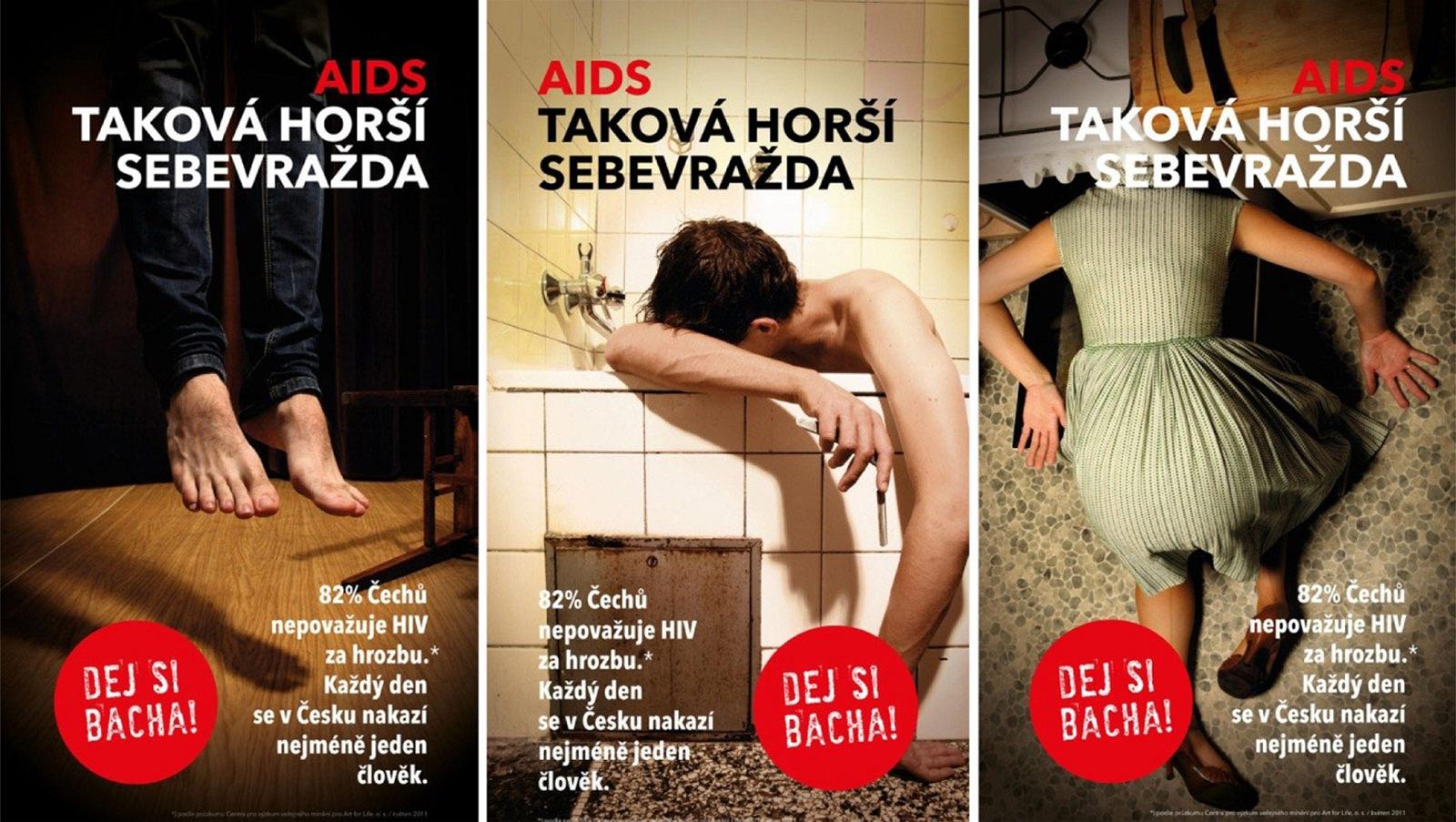 kampaň, upozorňující na rizika, spjatá s AIDS