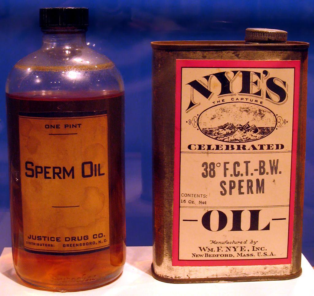 Sperm Oil; tuk z vorvaně obrovského, kdysi využívaný jako průmyslové mazadlo – většinou...