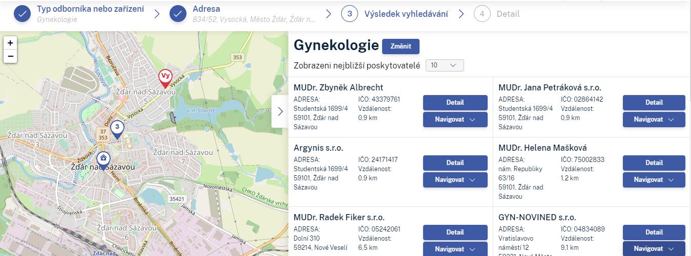 interaktivní mapa českých gynekologických ordinací