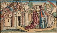 Zkáza Sodomy na malbě z 15. století